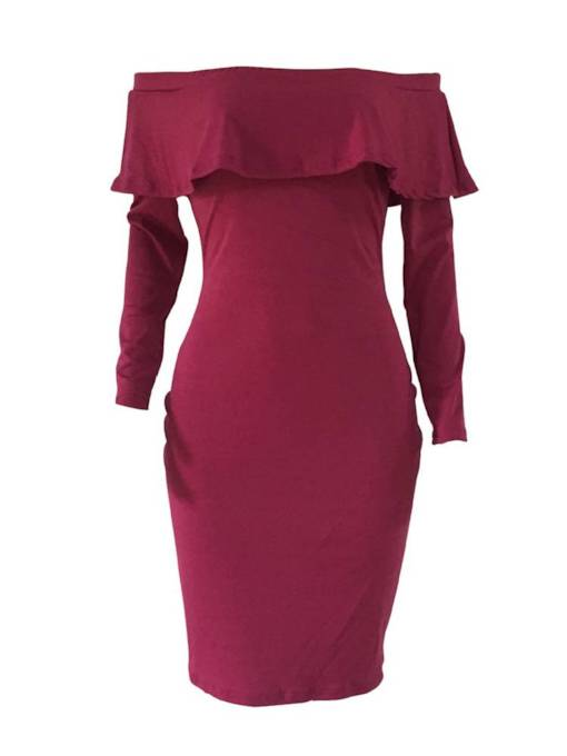 Burgundy Off Shoulder Women's Long Sleeve Dress
