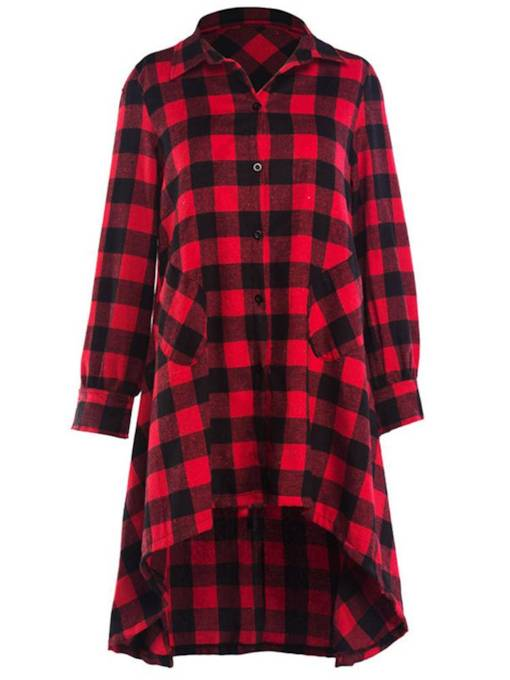 Asymmetrical Polo Neck Plaid Women's Long Sleeve Dress