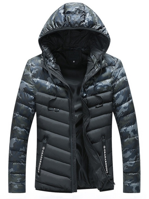 Hooded Slim Zipper Stand Collar Camouflage Print Thick Men's Jacket