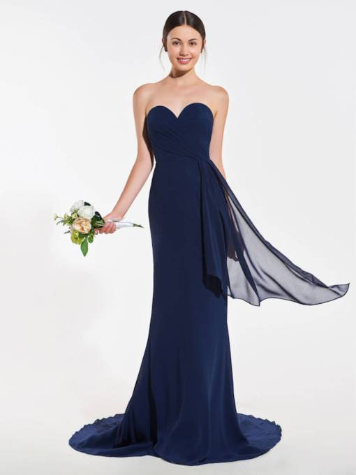 Sweetheart Neckline Sash Trumpet Bridesmaid Dress