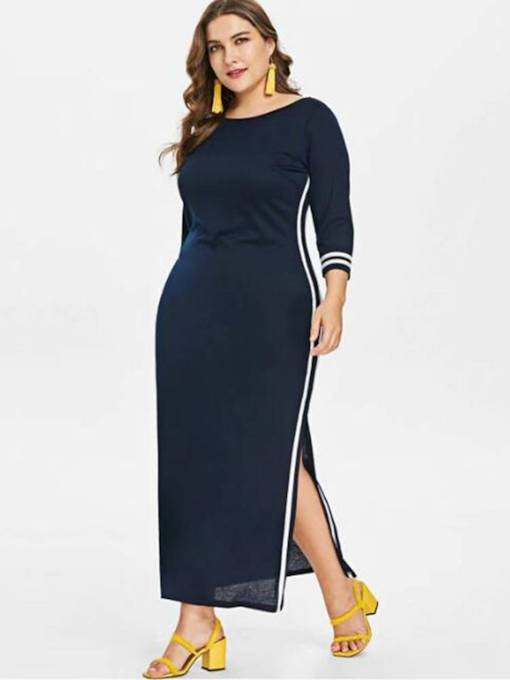 Plus Size 3/4 Length Sleeves Split Women's Maxi Dress