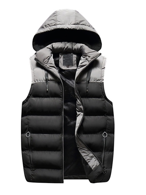 Zipper Color Block Patchwork Men's Vest