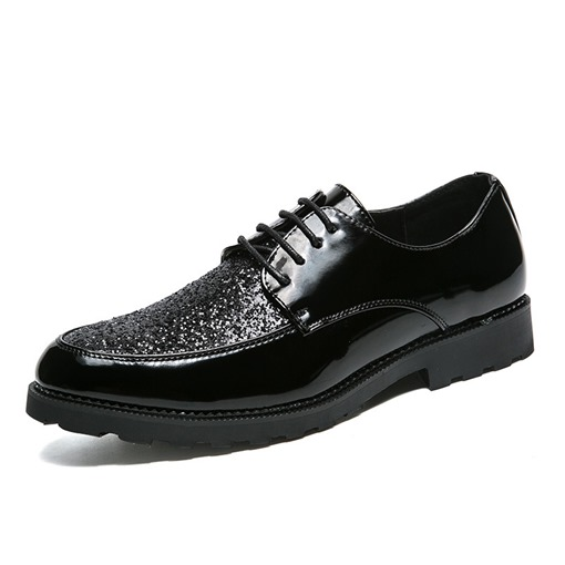 Lace-Up Round Toe Plain Professional Sparkly Dress Shoes