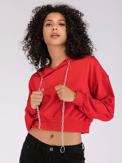 Plain Solid Color Chain Women's Cropped Hoodie