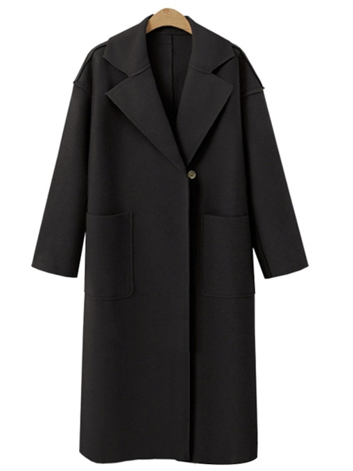 Notched Lapel Dual Pocket Belt Women's Long Overcoat