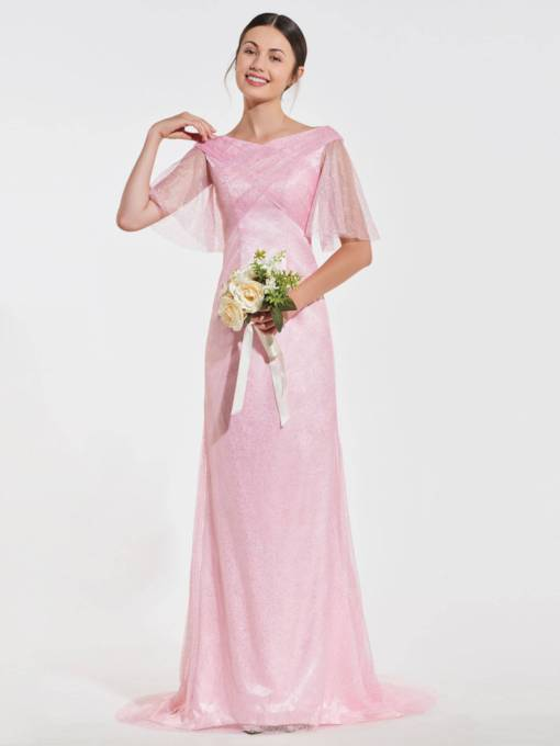 V-Neck Half Sleeve Column Bridesmaid Dress