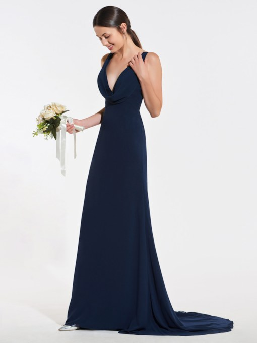 Deep V-Neck Draped Sheath Bridesmaid Dress