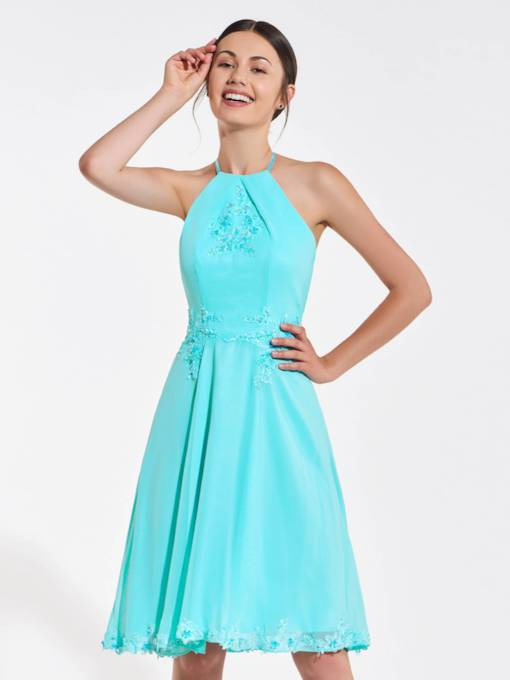 Halter Appliques Beading Knee-Length Bridesmaid Dress