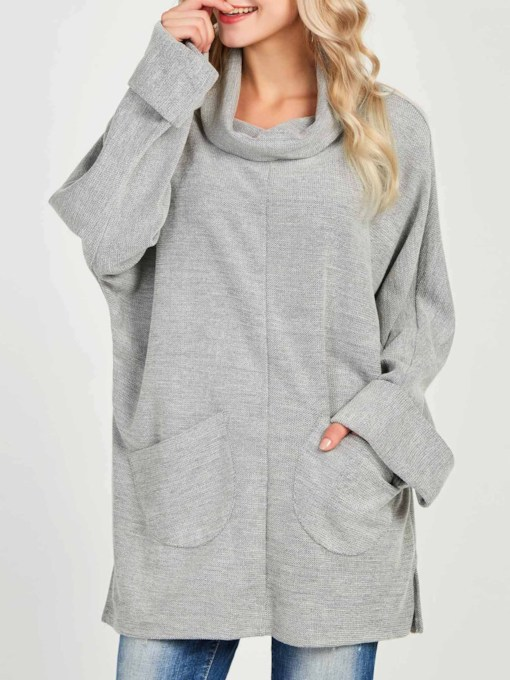 Heap Collar Loose Dual Pocket Women's Sweatshirt