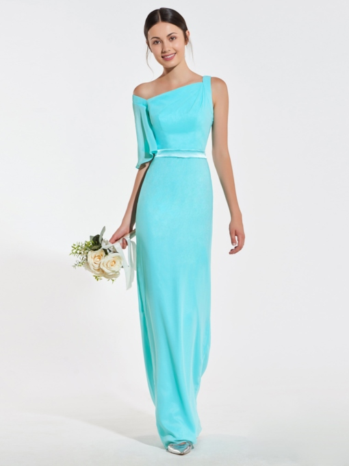 Square Neckline Sheath Long Bridesmaid Dress