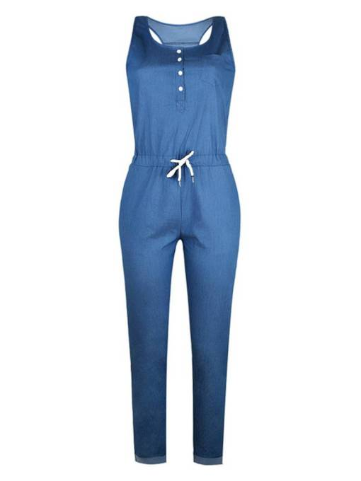 Denim Blue Button Pocket Lace-Up Women's Jumpsuit