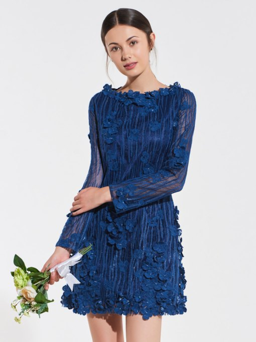 Flowers Lace Long Sleeve Bridesmaid Dress