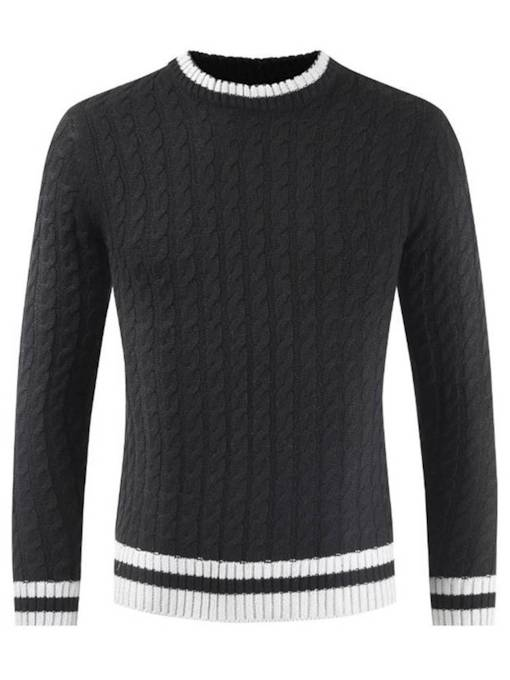 Slim Patchwork Plain Men's Sweater