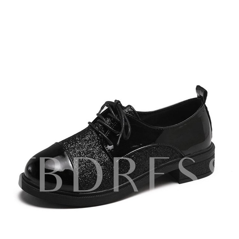 Buy Lace-Up Block Heel Patchwork Round Toe Glitter Women's Flats, Spring,Summer,Fall, 13401843 for $25.67 in TBDress store
