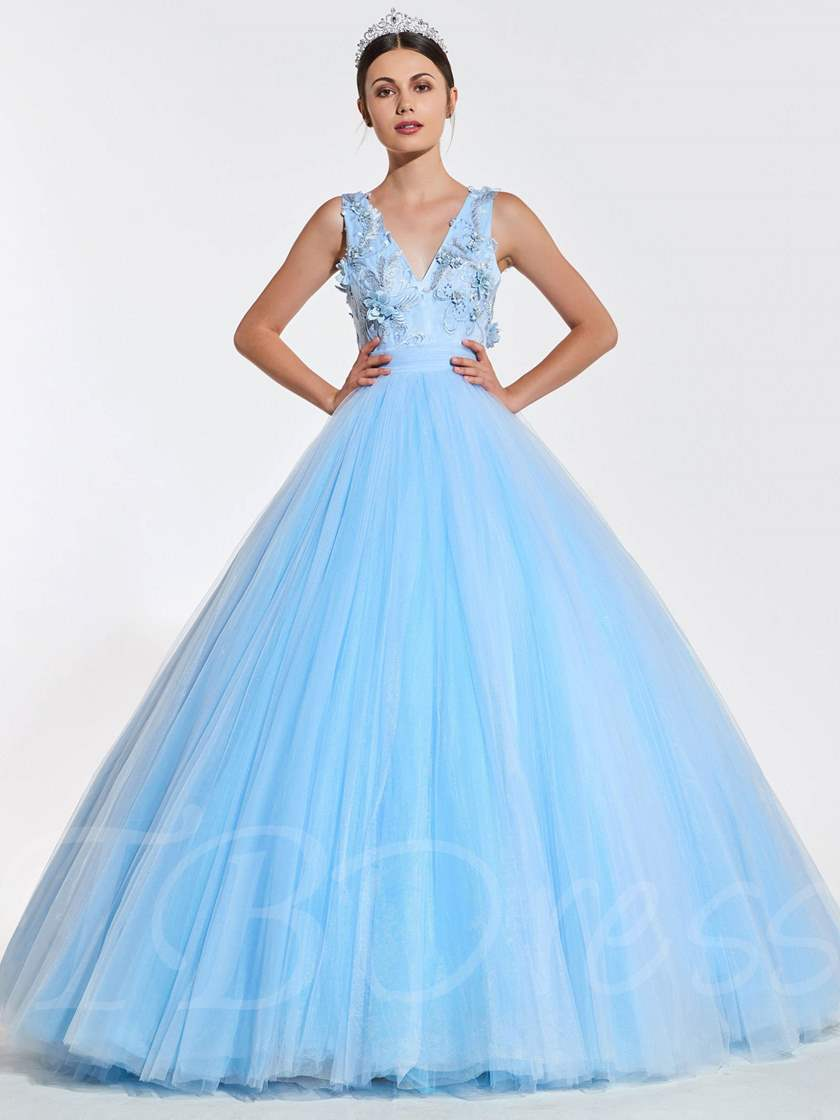 V-Neck Beaded Flowers Long Quinceanera Dress