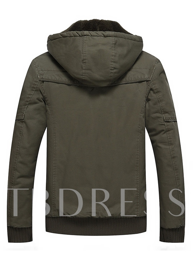 Hooded Slim Zipper Stand Collar Thick Men's Jacket