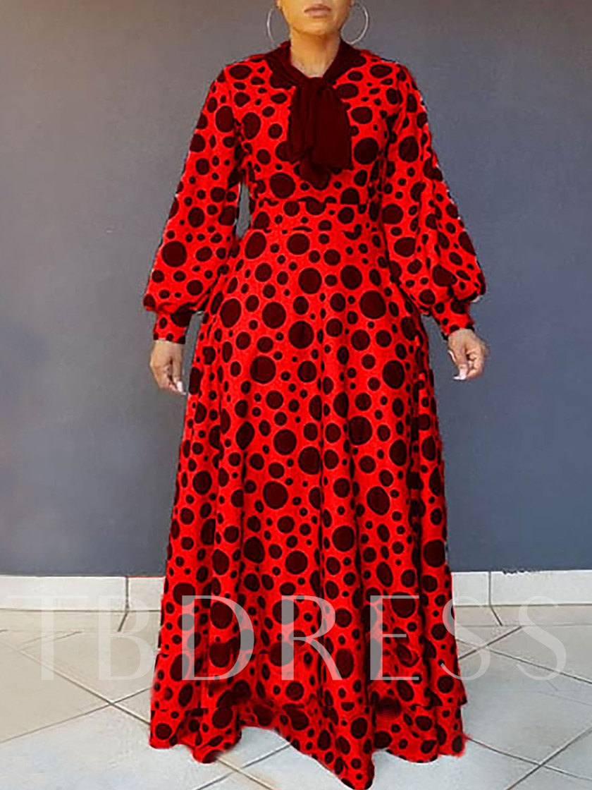 Long Sleeve Print Polka Dots Women's Maxi Dress