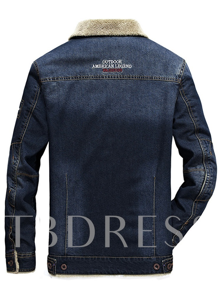 European Lapel Slim Plain Pocke Thick Plain Denim Men's Jacket