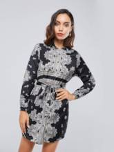 Single-Breasted Lace up Black Women's Long Sleeve Dress