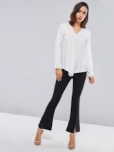 Ruched Chiffon Solid Color Women's Blouse
