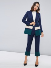 Color Block Patchwork Blazer and Pants Women's Suit