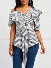 Asymmetric Color Block Stripe Backless Women's Blouse