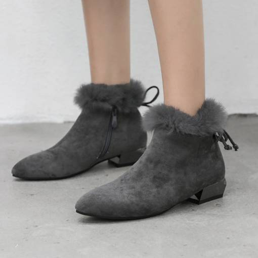 Pointed Toe Suede Block Heel Purfle Bowknot Women's Ankle Boots