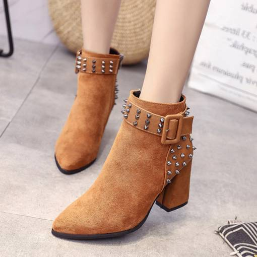 Suede Pointed Toe Chunky Heel Rivet Buckle Women's Ankle Boots