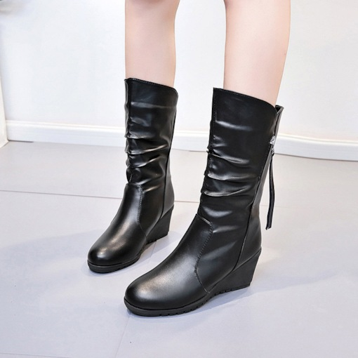 Round Toe Side Zipper Hidden Elevator Heel Women's Ankle Boots