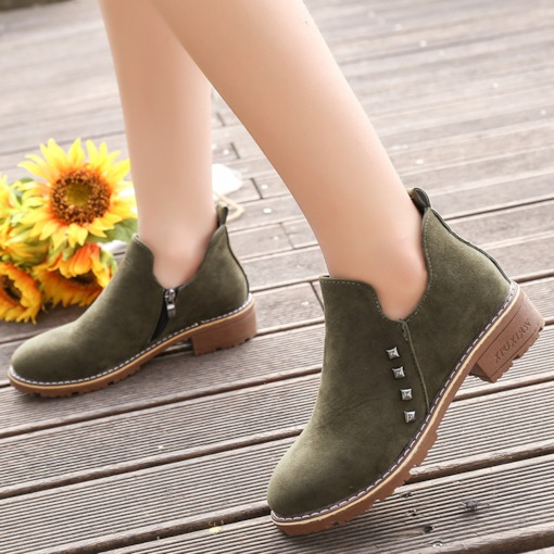 Round Toe Side Zipper Nubuck Leather Block Heel Women's Ankle Boots