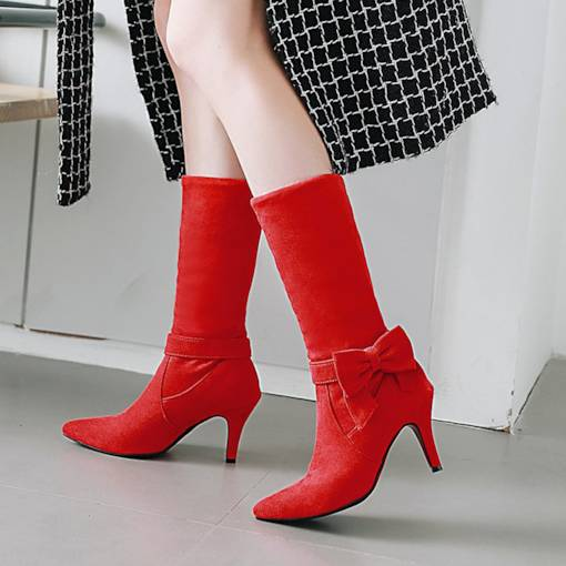 Pointed Toe Bow Suede Slip-On Stiletto Heel Women's Snow Boots