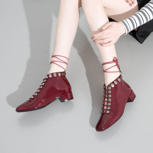 Square Toe Lace-Up Front Block Heel Rivet Unique Women's Ankle Boots