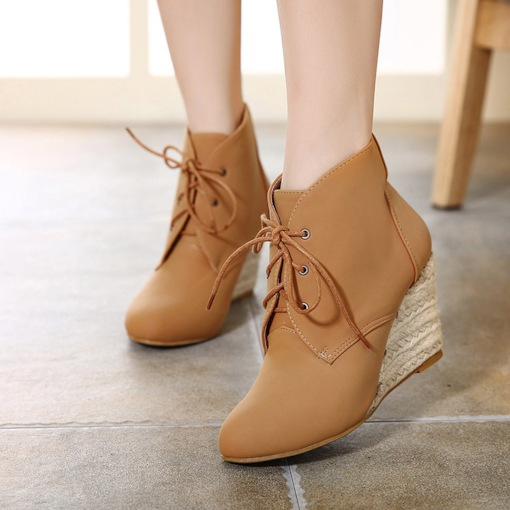 Round Toe Lace-Up Front Espadrille Wedge Heel Women's Ankle Boots