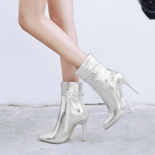 Side Zipper Buckle Stiletto Heel Pointed Toe Chic Metallic Ankle Boots