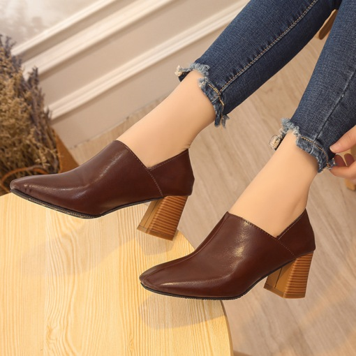 Square Toe Chunky Heel Slip-On Casual Vintage Women's Pumps
