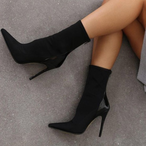Pointed Toe Back Zip Stiletto Heel Patchwork Women's Ankle Boots