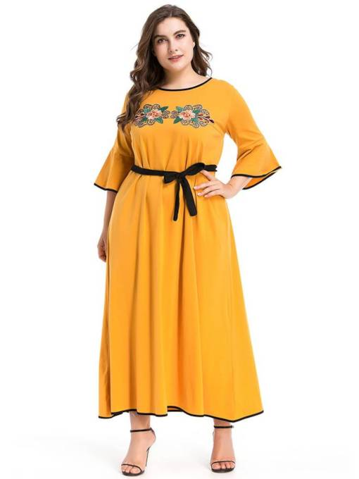 Embroidery 3/4 Length Sleeves Women's Maxi Dress