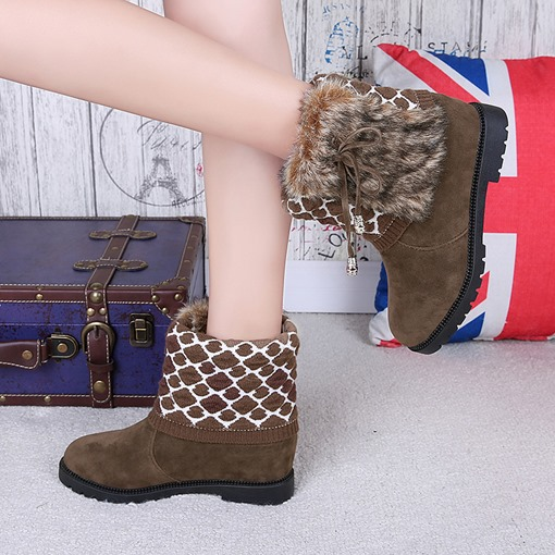 Suede Round Toe Slip-On Geometric Decorated Elevated Snow Boots