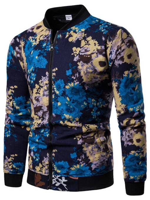 Stand Collar Slim Zipper Floral Print Men's Jacket