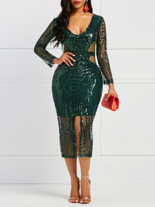 Split V-Neck Long Sleeve Women's Bodycon Dress