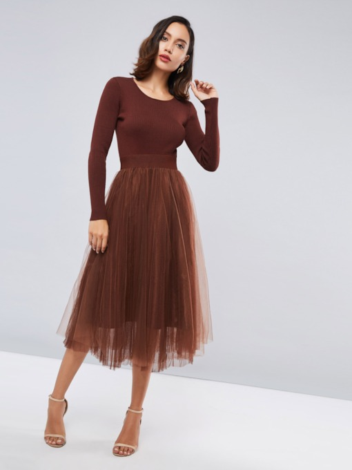 Round Neck Patchwork Women's Long Sleeves Dress