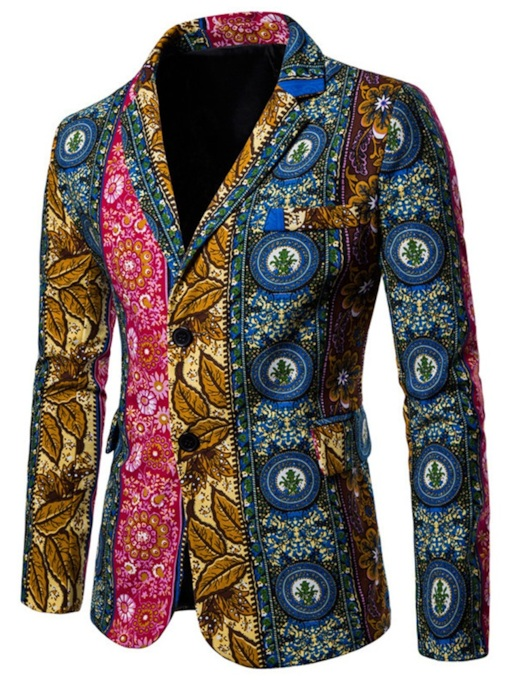 Casual Irregular Pattern Notched Lapel Color Block Print Slim Men's Blazer