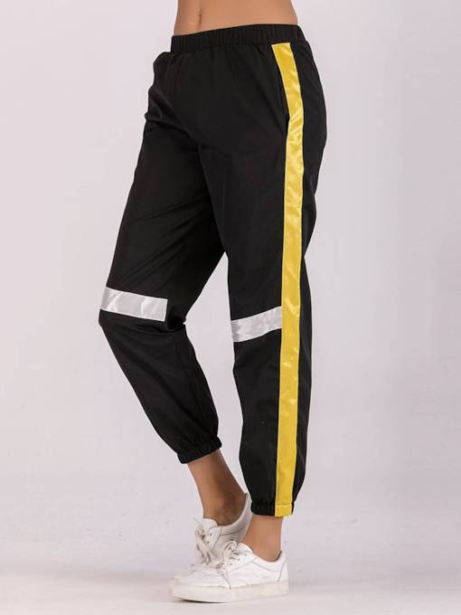 Sporty Color Block Patchwork Women's Harem Pants