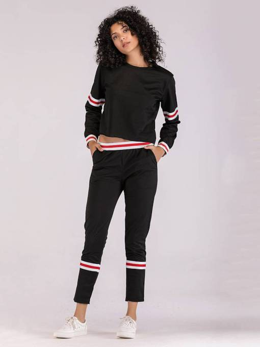 Stripe Sporty Long Sleeve Tee and Pants Women's Two Piece Set