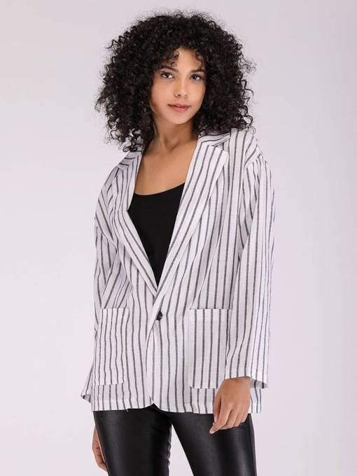 One Button Dual Pocket Stripe Print Women's Blazer