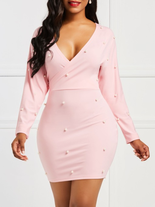 V-Neck Bead Long Sleeve Ladylike Women's Bodycon Dress