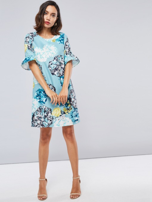 Flare Half Sleeve Prints Women's Day Dress