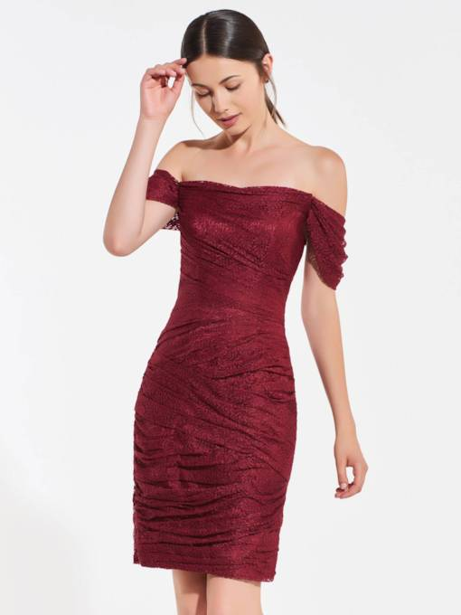 Off the Shoulder Sheath Lace Bridesmaid Dress