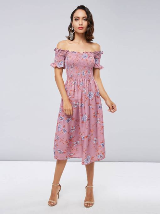 Off Shoulder Red Women's Day Dress