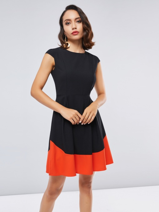 Color Block Cap Sleeve Women's Day Dress